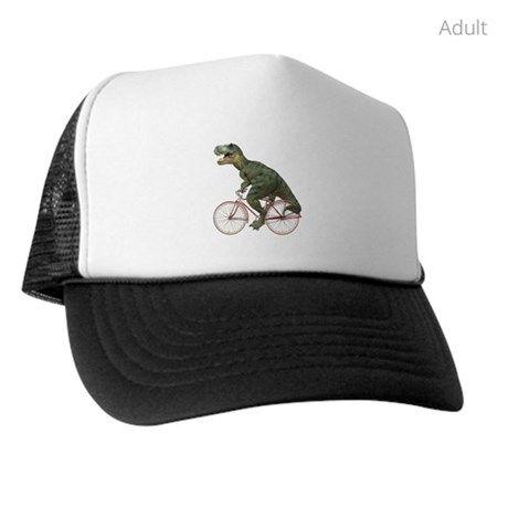 Cycling Tyrannosaurus Rex Trucker Hat #tyrannosaurusrex