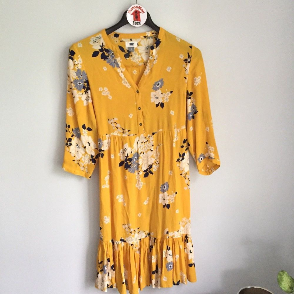 Details about old navy yellow floral print midi dress size s long