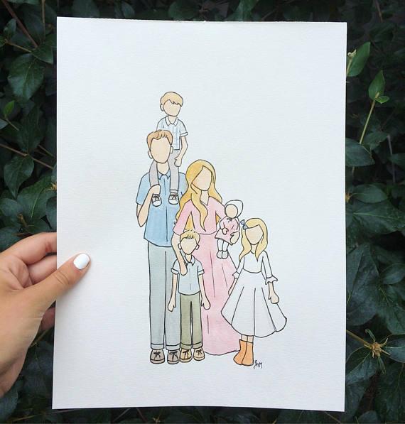 Custom Family Watercolor Portrait Full Body Etsy Family Drawing Watercolor Portraits Family Picture Drawing