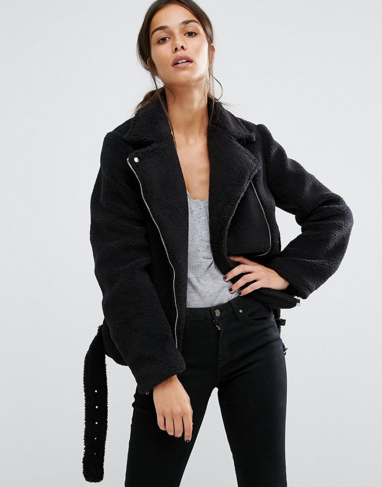 2727fd7382777 Missguided Faux Shearling Aviator Jacket