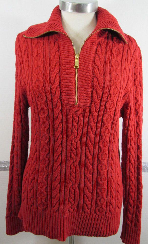 Ralph Lauren Black Cable Knit Crewneck Sweater Purple Pony NWT