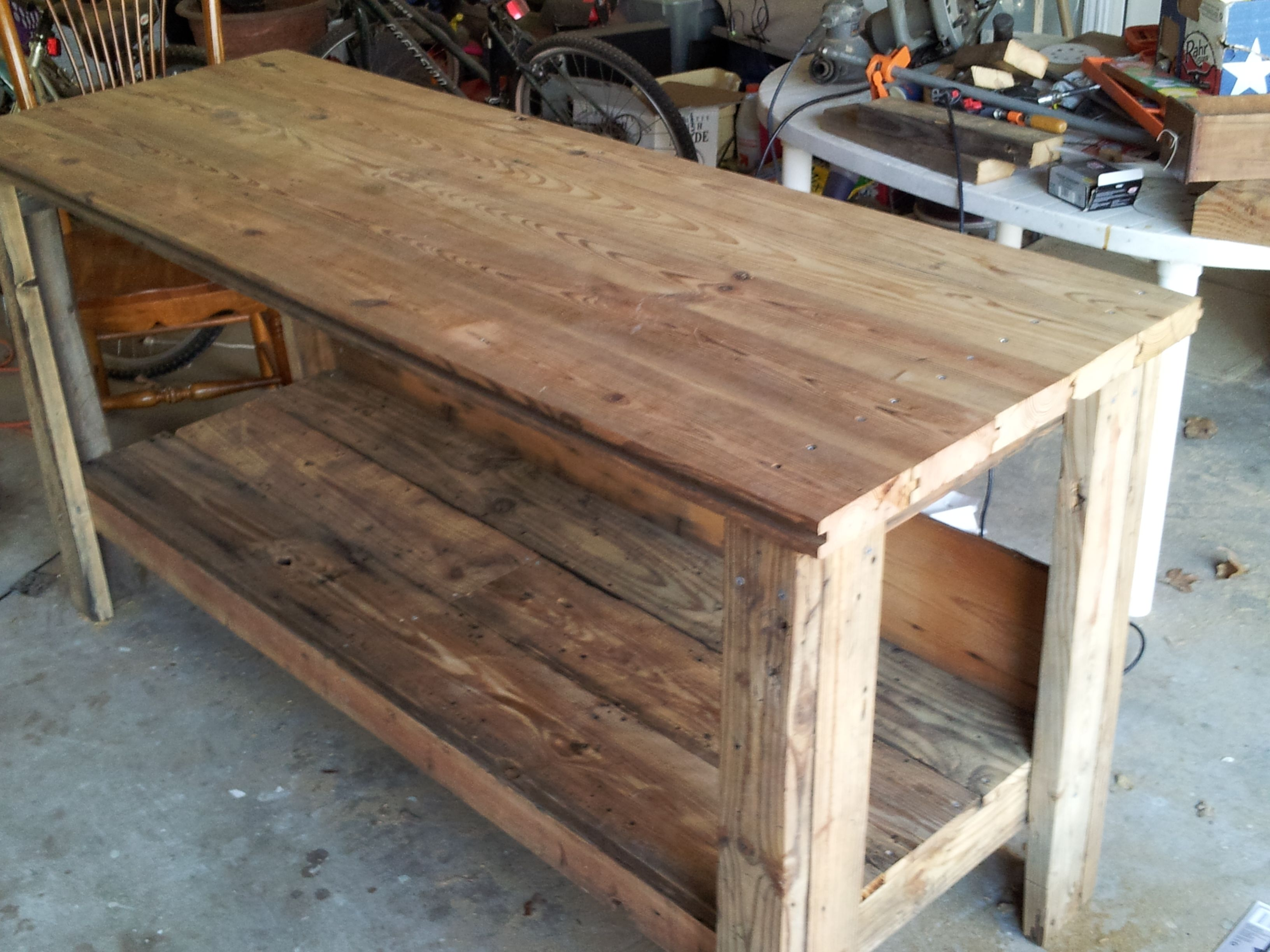 work bench made from reclaimed wood including two-by-fours from