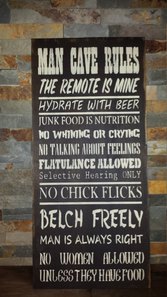 Man Cave Rules Sign For Friend Dad Fathers Day Gift Garage Sign Den Sign Man Cave Rules Sign Man Cave Rules Man Cave Signs