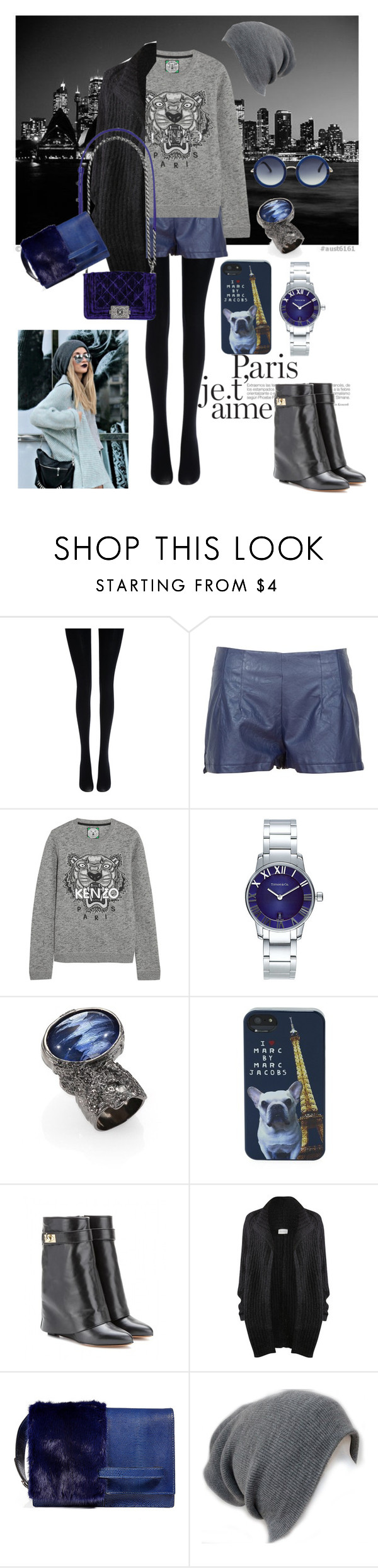 """Leather shorts"" by kajfkajf ❤ liked on Polyvore featuring Fogal, Kenzo, Tiffany & Co., Yves Saint Laurent, Marc by Marc Jacobs, Givenchy, American Vintage, Chanel, Valentino and The Row"