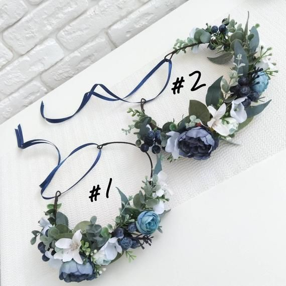 Dusty blue peony and eucalyptus crown Navy blue flower crown Bridesmaid crown Bridal flower crown Greenery hair comb Boutonniere Wedding set #bluepeonies