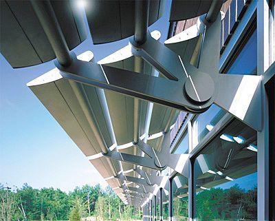 Motorized Swinging Solar Shading System 1600 Powershade By Alcoa Architectural Products Solar Shades Diy Solar Panel Photovoltaic Panels