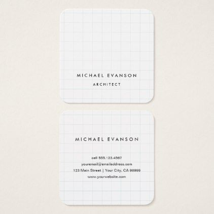 professional architect graph paper pattern square business card in