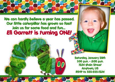 Very Hungry Caterpillar Custom Photo Birthday Invitation - You Print on eBay!