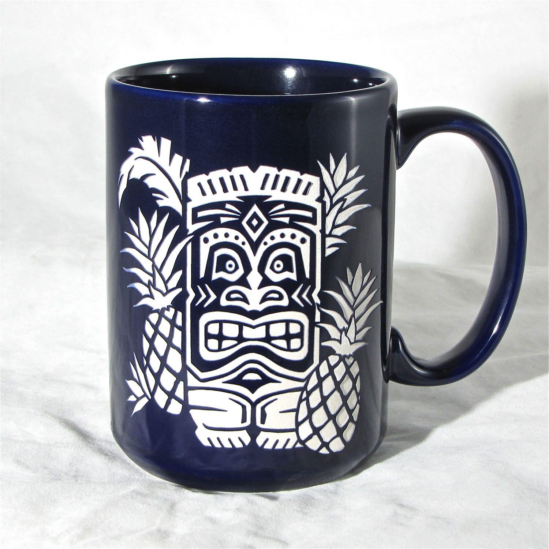 Blue tiki coffee mug coffee tea cup with hawaiian tiki