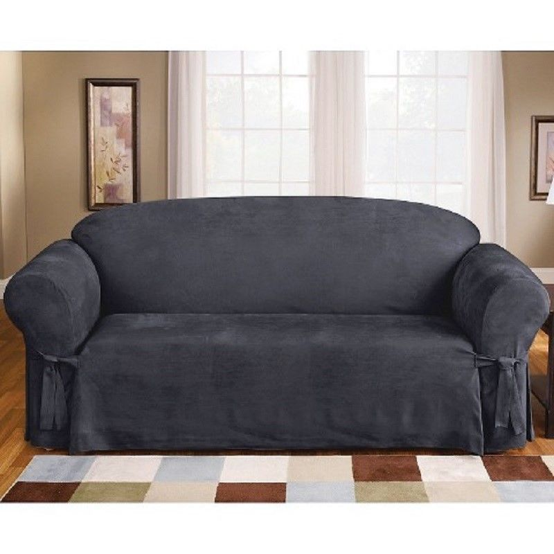 NWOT Sure Fit Sofa Slipcover Blue Sofa Slipcover Faux Suede