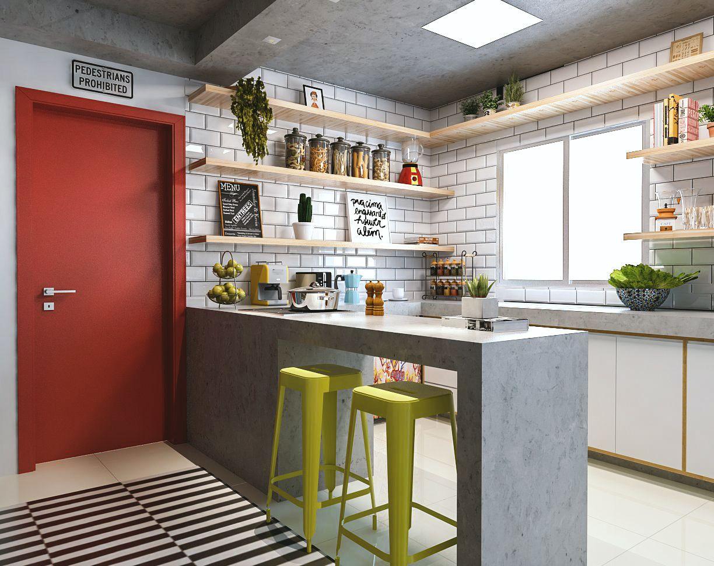 Sala Cozinha Americana Quarto Home Office E Closet Hc Studio  -> Divisor Sala E Cozinha