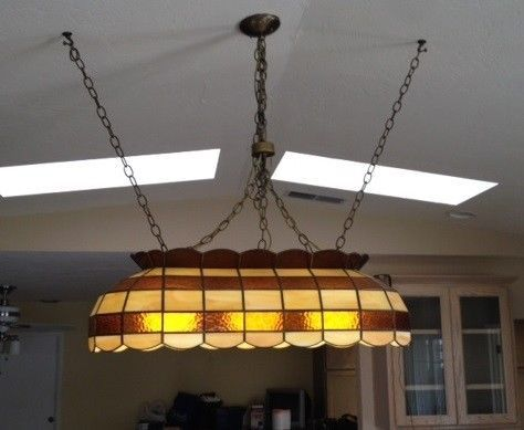 Beau Stained Glass Pool Table Light Vintage | EBay