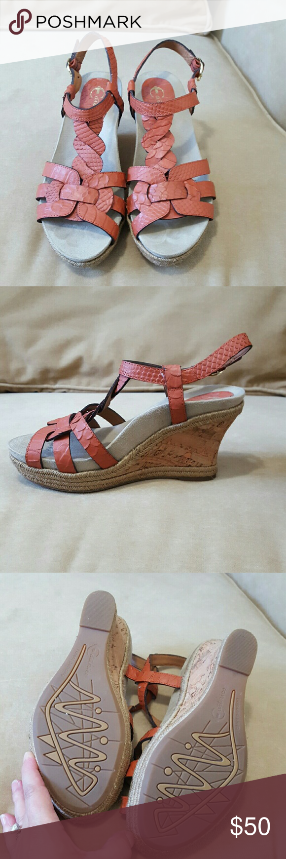 Earthies orange wedges Crazy comfortable with a super supportive suede cushioned fitted footbed.   Orange textured leather.  If these don't go soon I can see them moving back in my closet! earthies  Shoes Wedges