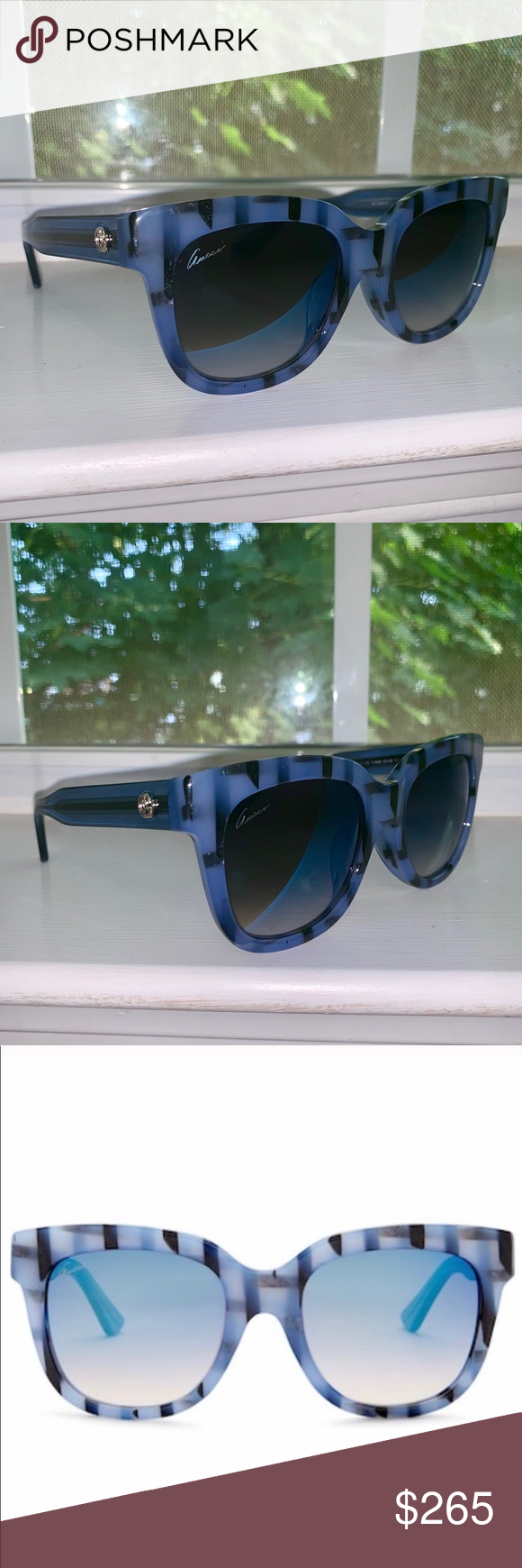 GUCCI Striped Cat Eye Sunglasses NWT GUCCI Striped Cat Eye Sunglasses. Beautiful blue color perfect for summer/beach/vacation