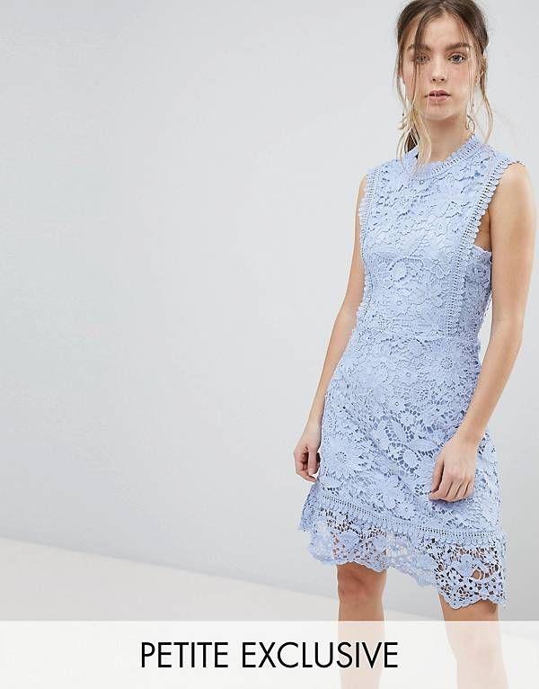 Boohoo Petite Bib Detail Lace Midi Dress Clothing