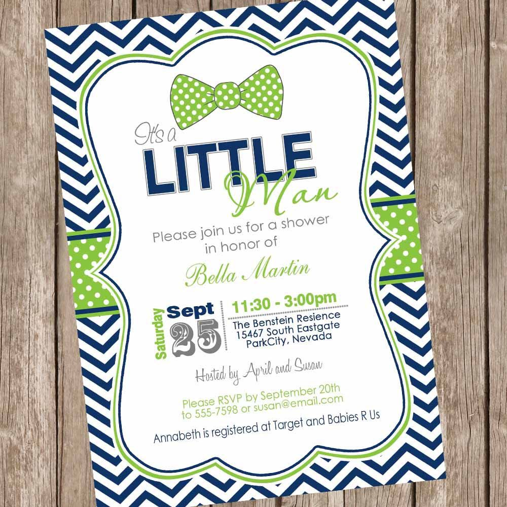 Navy and lime green baby shower invitation, boy baby shower ...