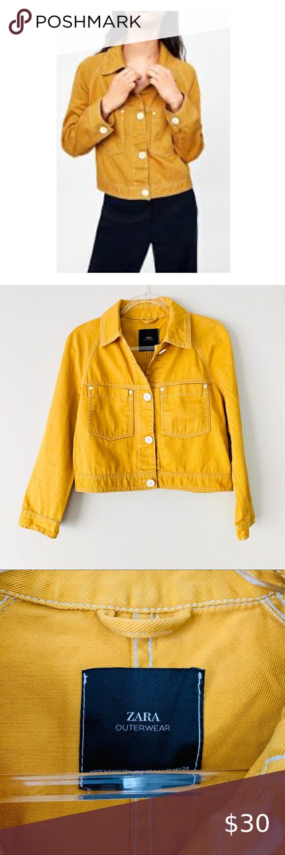 Zara Mustard Yellow Gold Denim Cropped Jacket Yellow Denim Crop Jacket Zara [ 1740 x 580 Pixel ]