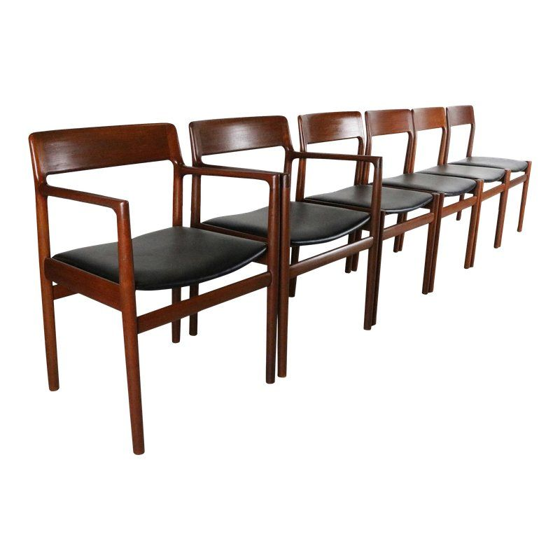Danish Mondern Johannes Norgaard Teak Dining Chairs With Bold Black Upholstery A Set Of 6 Dining Chairs Teak Dining Chairs Black Upholstery