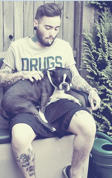 this is making my heart melt. tattooed boys + boston terriers