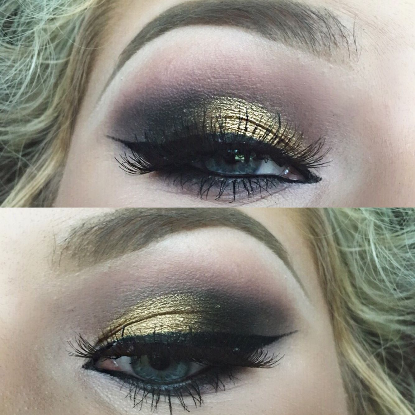 Gold, black, & brown smokey eye- @makeupbyhailee
