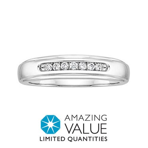 Amazing Value 1 6 Carat Total Weight Diamond Men S Wedding Band In 10 Karat White Gold Now 199 00 Original Price 395 00 At Fredmeyerjewelers Com
