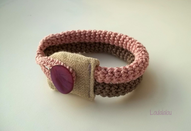 Romantic crochet jewelry -crochet bracelet in beige and smoke dust pink with linen fabric. $24.00, via Etsy.