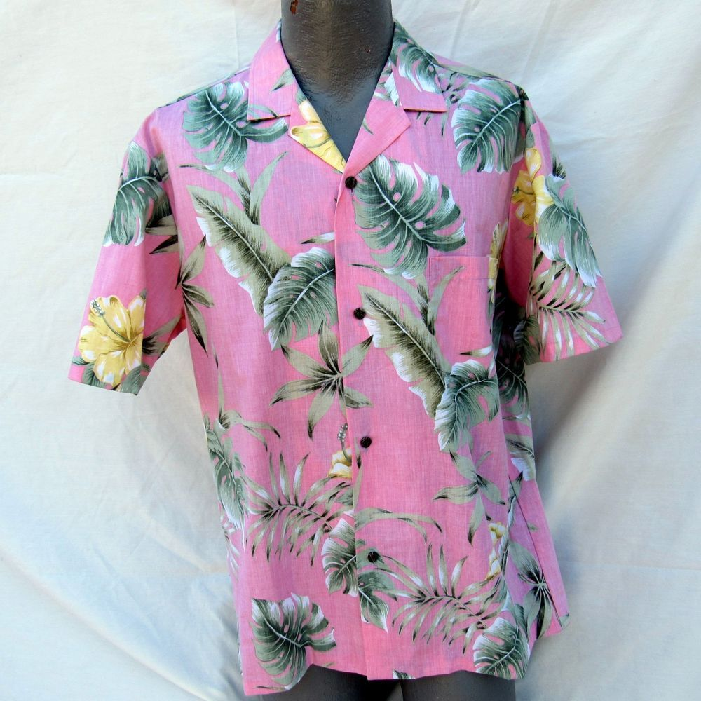 0521f57b Vintage Royal Creations Large Hawaiian Shirt Pink Palm Fronds Hibiscus  #RoyalCreations #ButtonFront