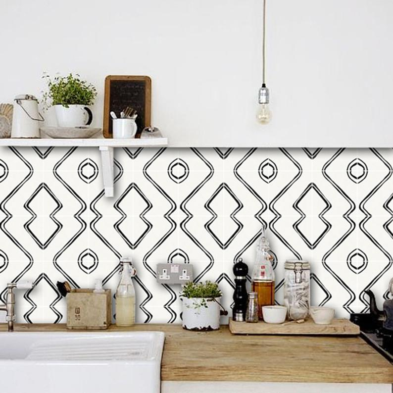 Berber Inspired Harlow Wallpaper In Black Matte Removable Etsy Vinyl Wallpaper Vinyl Tile Floor Decal