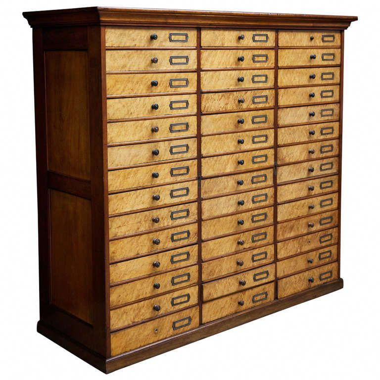 Forty Two Drawer Museum Or Collectors Cabinet Beautiful Construction In Birds Eye Maple And Mahogany The Drawers H Maple Furniture Furniture Antique Cabinets