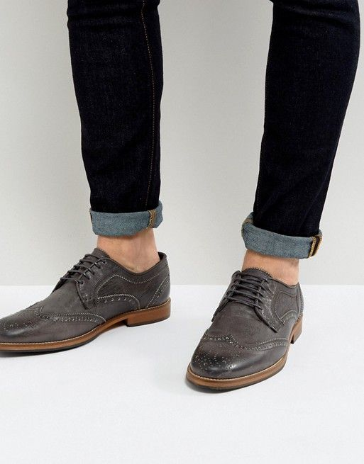 For Sale Cheap Price Low Shipping Fee Cheap Online DESIGN brogue shoes in brown leather with natural sole - Brown Asos CLjtNzz