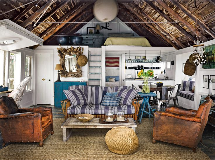 Room of the Day ~ cottage in Provincetown via NY Mag Love leather club chairs and blue stripe sofa. 8.1.2014