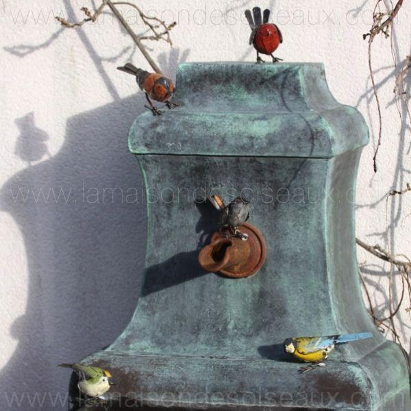 Rouge gorge oiseau en fer recyclé - decoration jardin | Sculptures ...