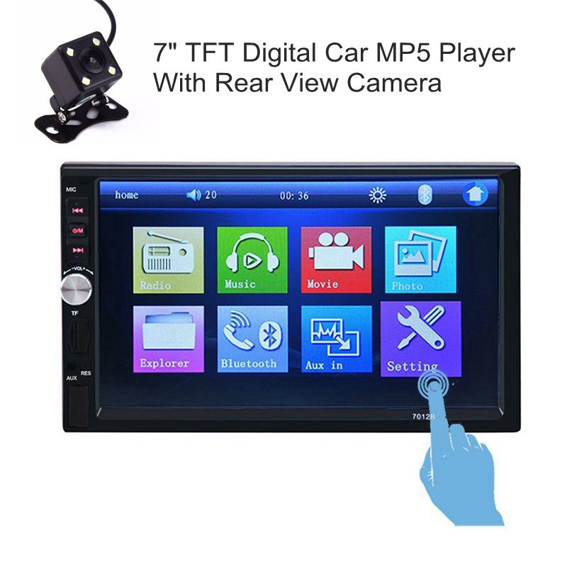 """2 DIN 7/"""" HD Car Stereo Radio MP5 Player Bluetooth Touch Screen Rear Camera"""