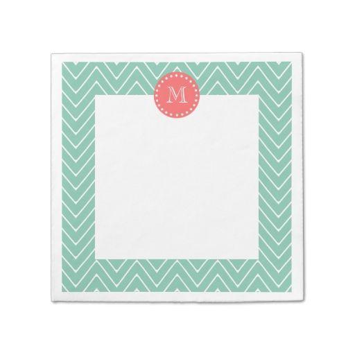 Mint Green Chevron Pattern | Coral Monogram Paper Napkin