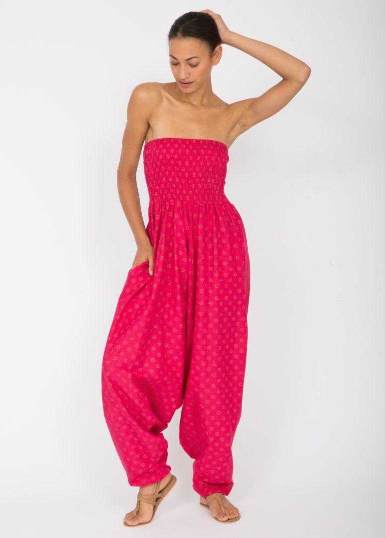 543ad8b873 Cotton Printed 2 in 1 Maxi Harem Trouser   Jumpsuit Fuchsia Fleurs ...