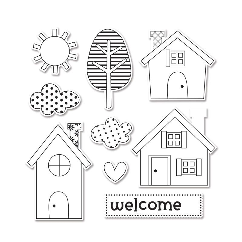 Sizzix - Doodlebug - Framelits - Die Cutting Template and Clear Acrylic Stamp Set - Welcome Home Scrapbook.com $23.99