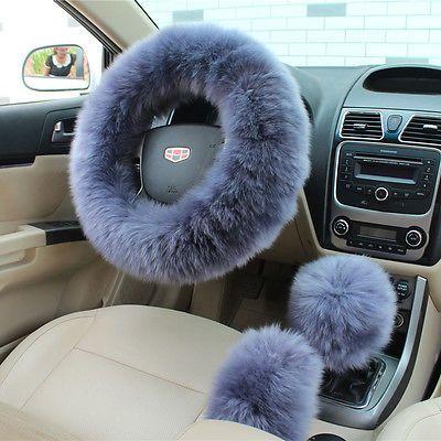 Universal Pink Woolen Plush Car Seat Steering Wheel Hand brake Covers Protector