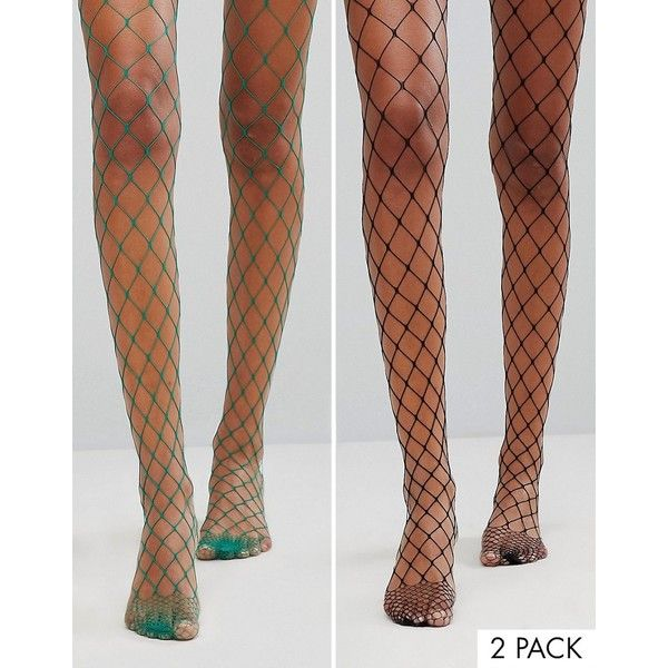 03ae7b4b592a8 ASOS 2 Pack Oversized Fishnet Tights In Black And Green ($16) ❤ liked on  Polyvore featuring intimates, hosiery, tights, multi, green fishnet tights,  ...