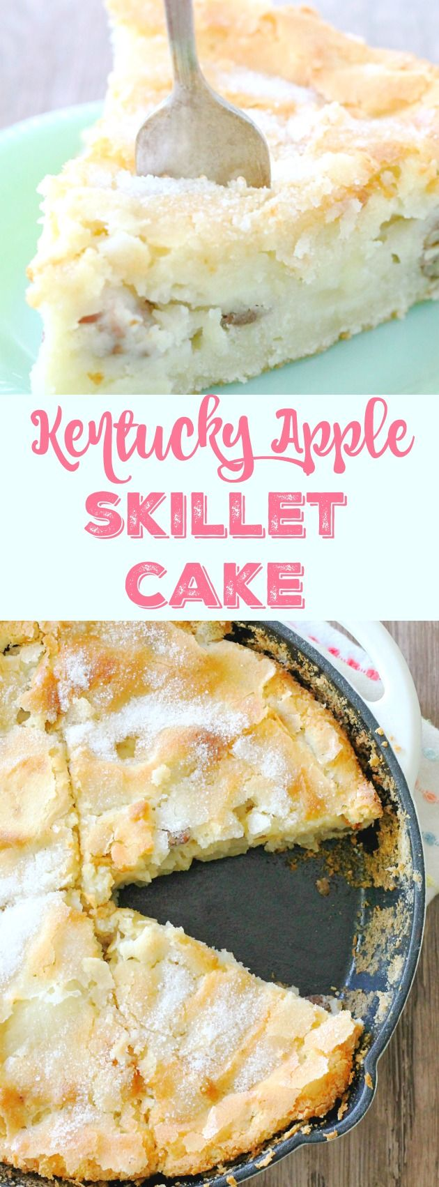Kentucky Apple Skillet Cake #applerecipes