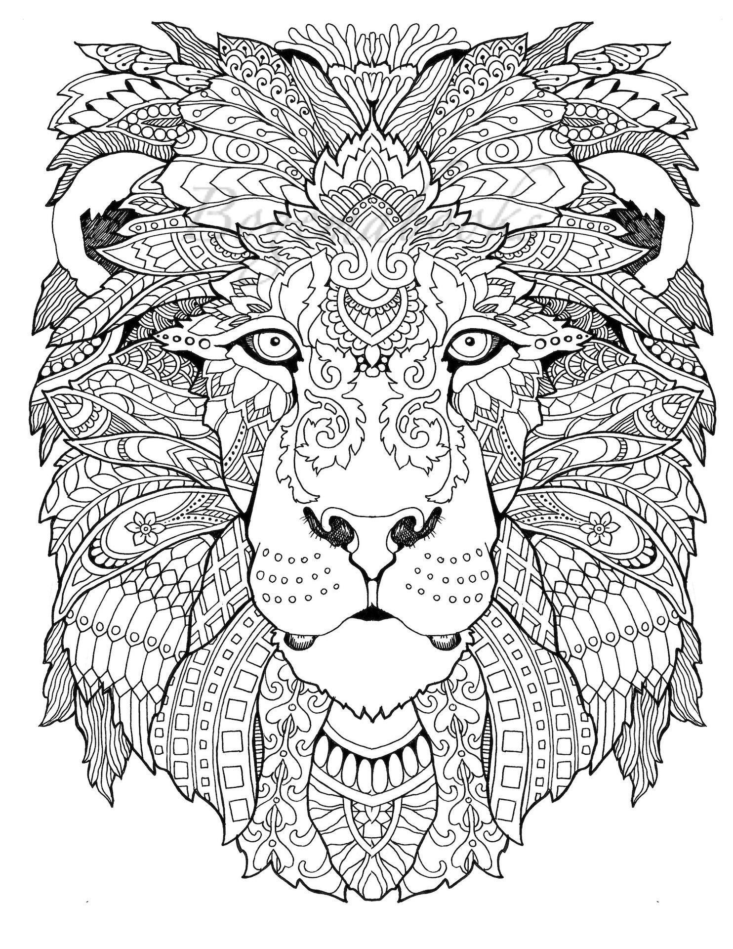- Awesome Animals Adult Coloring Pages Coloring Pages Etsy Lion