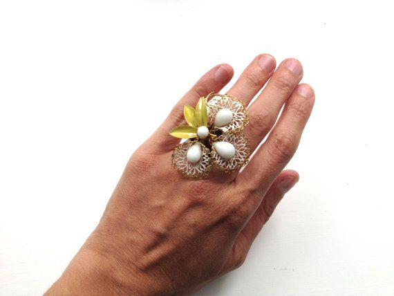 Repurposed Vintage Flower Wedding Statement RING in by ZiLLAsQuEeN, $38.00