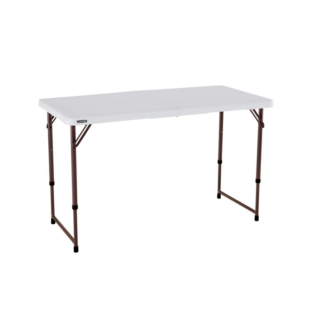 - Light Commercial Almond 4-Foot Fold-In-Half Adjustable Table