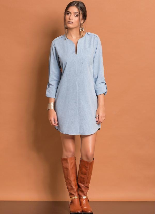 c3de0cf88 Vestido Chemise Básico (Azul Claro) | Fashion - Dresses | Dresses ...