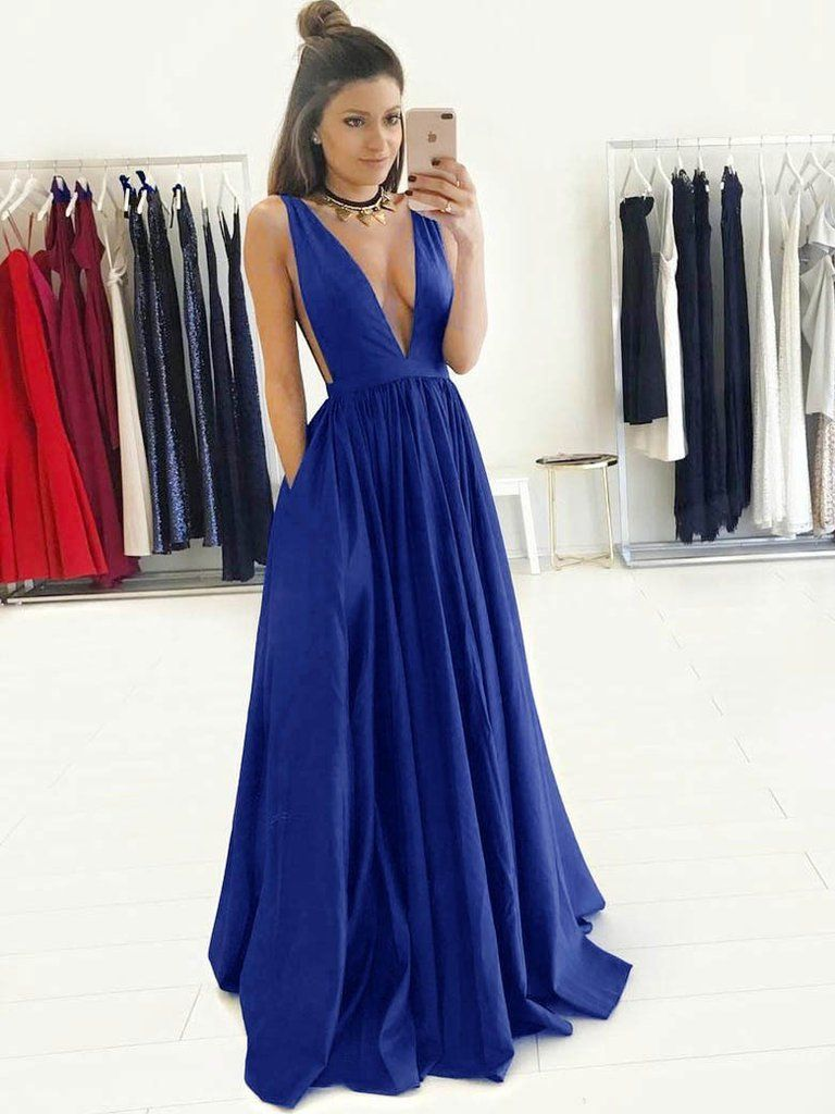 Chic aline vneck royal blue simple long prom dress evening dress