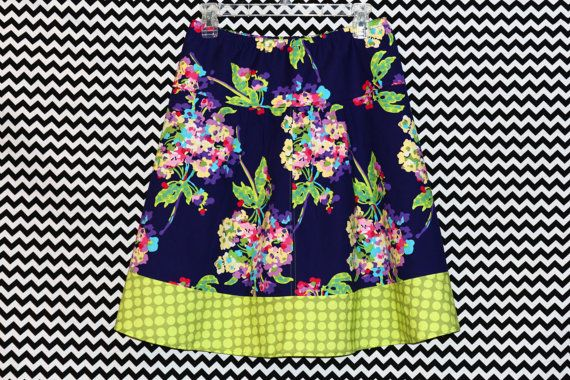 Purple Bouquet with Green Polka Dots A-Line Skirt, Amy Butler, Love, Floral Skirt, Womans  A-line Skirt Hip sizes 30-56 inches $58