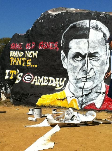 The rock at #Tennessee #Vols today (10/8/2011) painted with former #UGA legendary Coach Vince Dooley & his son (also a former UGA Coach) Derek.