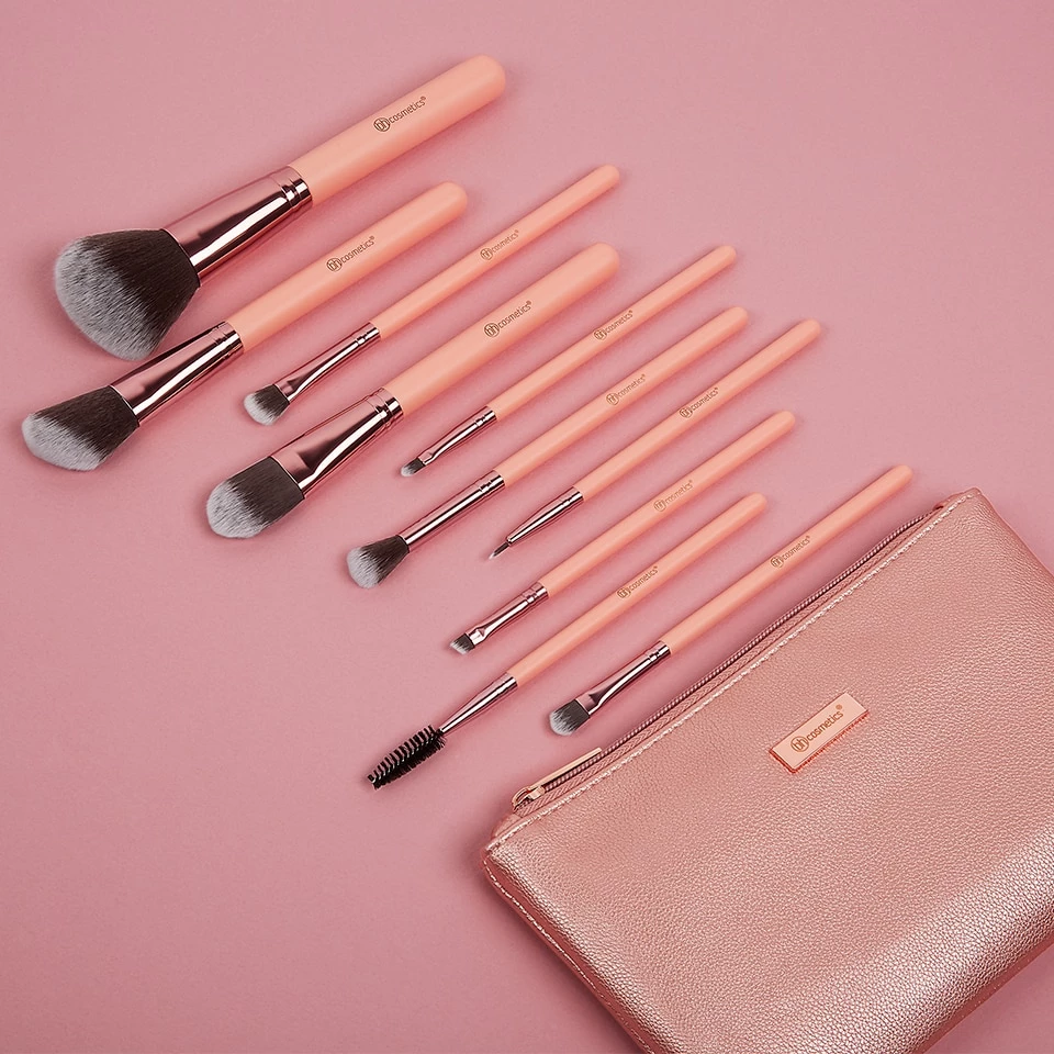 Pretty in Pink 10 Piece Brush Set with Cosmetic Bag BH