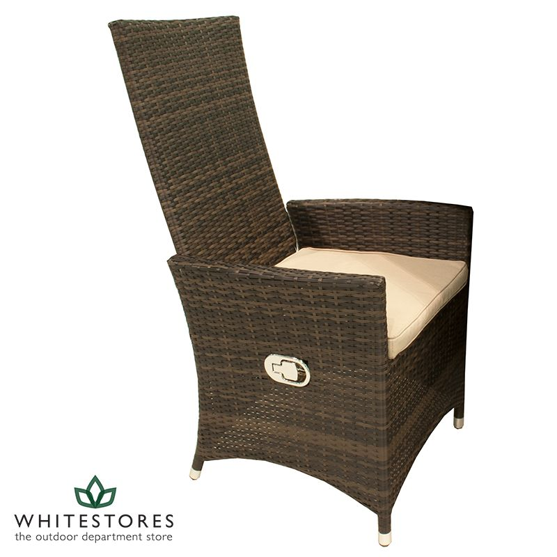 belle rattan ruxley reclining dining chair brown garden