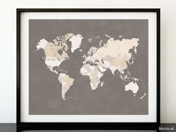 Printable world map with countries and names distressed vintage printable world map with countries and names distressed vintage earth tones wall art sciox Gallery