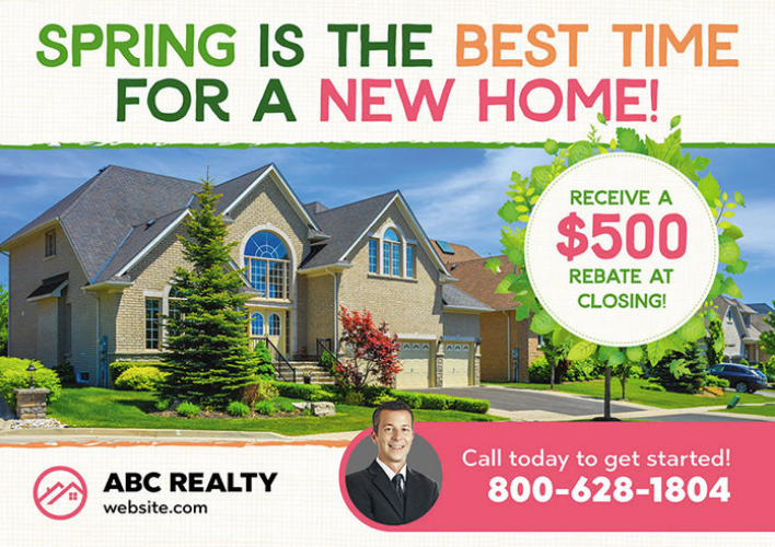 You can use this spring real estate postcard design to make